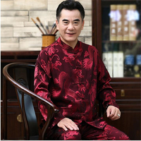 Traditional Chinese Style Man Tang Suit Casual Breathable Dragon Embroidery Clothing Set Men's Satin Tai Chi Kung Fu Uniforms