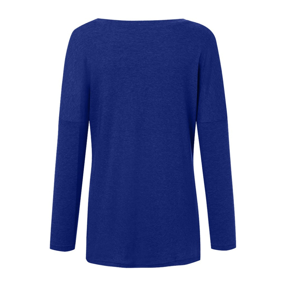 Womens Solid Warm Long Sleeve Sweatshirt Loose Pocket Daily Pullover Tops #4O08 (14)