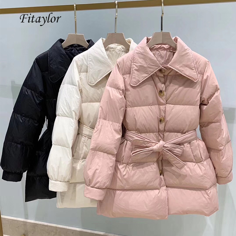 Fitaylor Women Duck Down Jacket Warm Thickness Loose White Duck Down Parka Turndown Collar Single Breasted With Belt Overcoat
