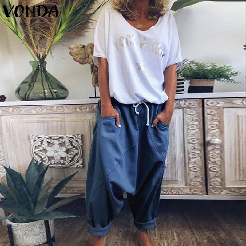 VONDA Harem Trousers Casual Demin Solid Color Women's Trousers Plus Size   Wide     Leg     Pants   Bohemian Summer Bottoms Overalls
