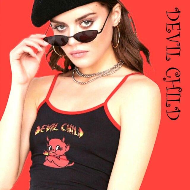 Nouvelle mode haute rue femmes récolte réservoir Halloween diable enfant Camisole petit diable imprimé Camisole