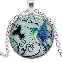 Handmade Photo Clip Blue Hummingbird Necklace Hummingbird Pendant Glass Cabochon Necklace Art Jewelry Accessories Gift