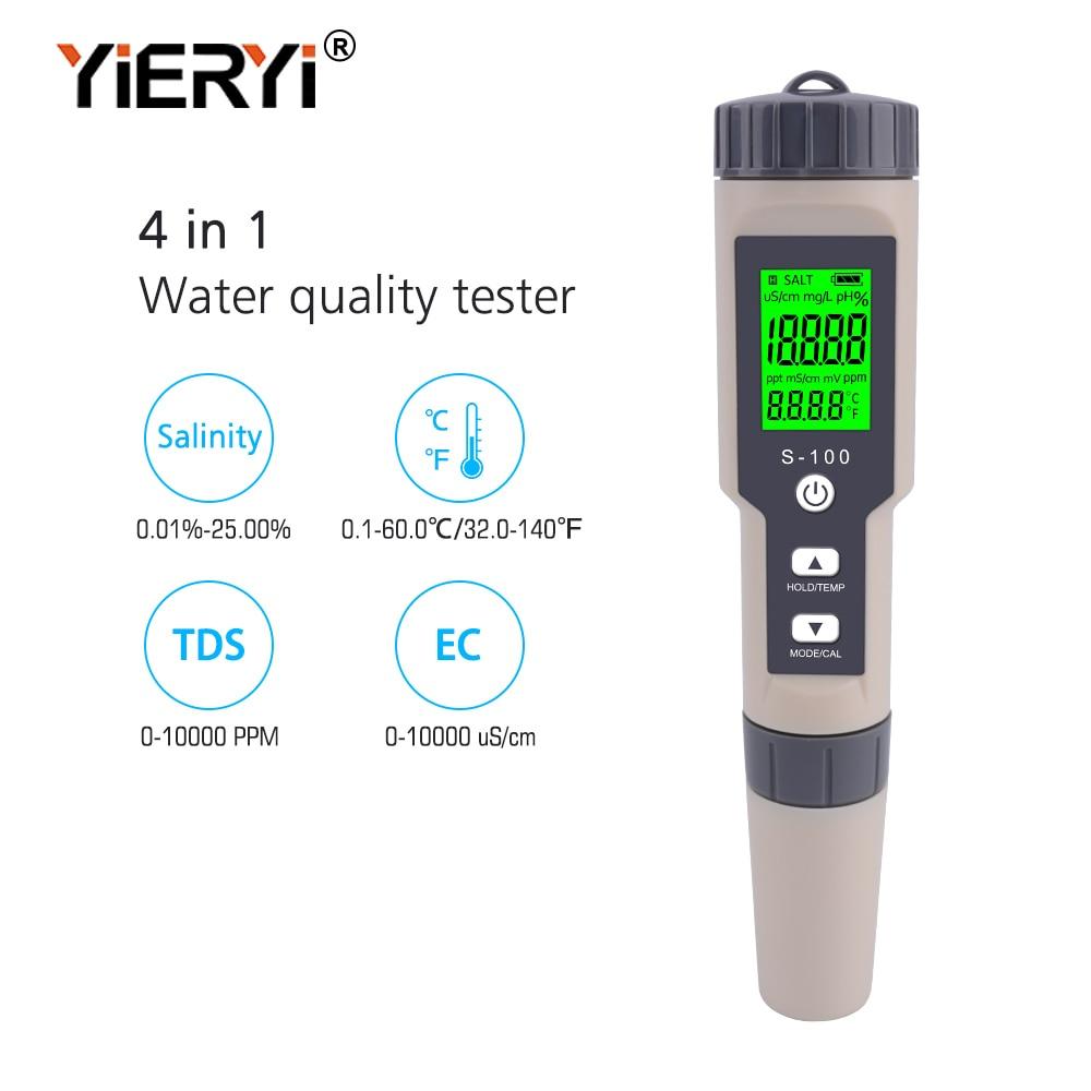Yieryi 4 In 1 Salt/EC/TDS/TEMP Meter S-100 Salt Meter Salinity Tester Waterproof Saltmeter Salt Gauge Water Quality Measure Tool