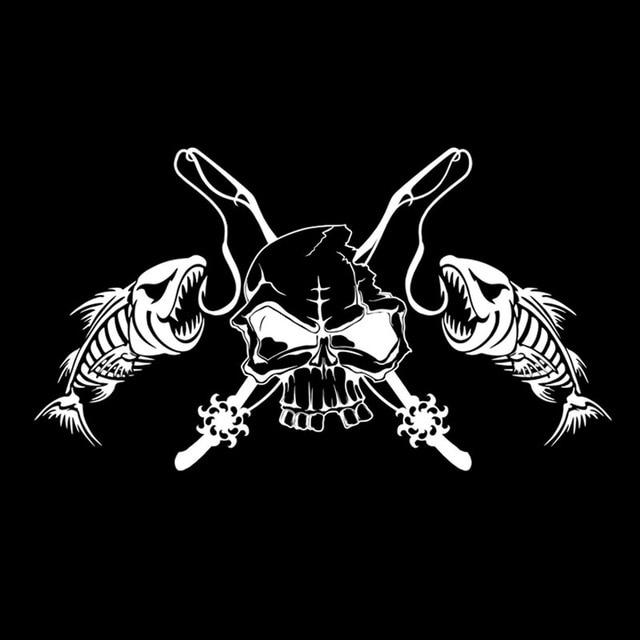 Купить модная автомобильная наклейка череп скелет рыба стержень катушка