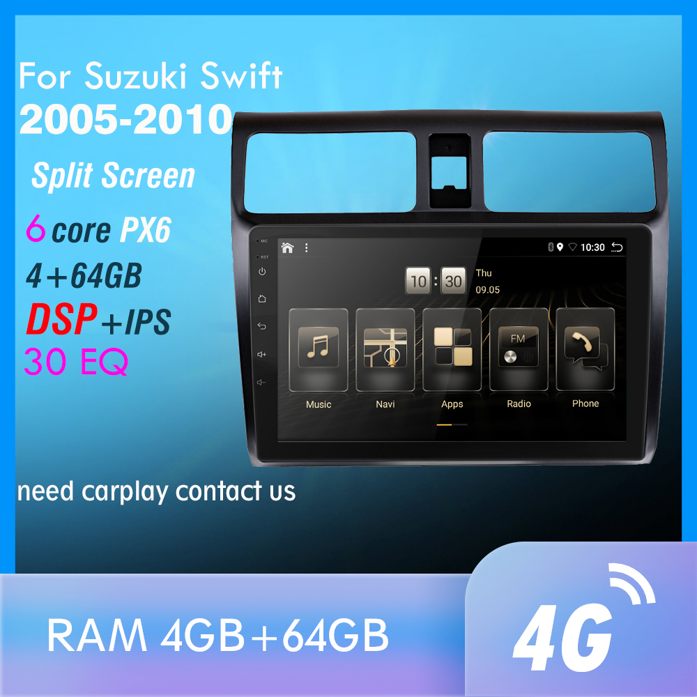 4G+64GB PX6 Car DVD Multimedia Player For 2005 2006 2007 <font><b>2008</b></font> 2009 2010 <font><b>Swift</b></font> 2din <font><b>Android</b></font> 10.0 Radio Auto Navigation GPS image