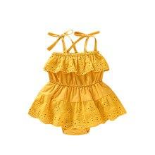 ARLONEET/хлопковое желтое детское платье-комбинезон Детский комбинезон для маленьких девочек, вечерние кружевные платья летняя одежда для малышей от 0 до 18 месяцев