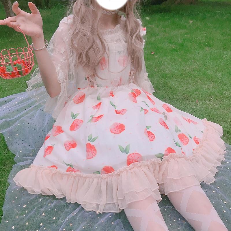 Kawaii Lolita Dress Daily Summer JSK Sweet Fuint Print Sleeveless Dress Sling Dress