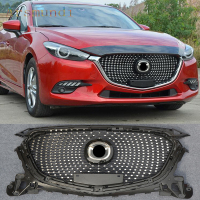 Auto accessories Fit For Mazda 3 Axela 2017-2018 ABS Chrome Front Bumper Grille Grill Cover Trim Modified 1 set
