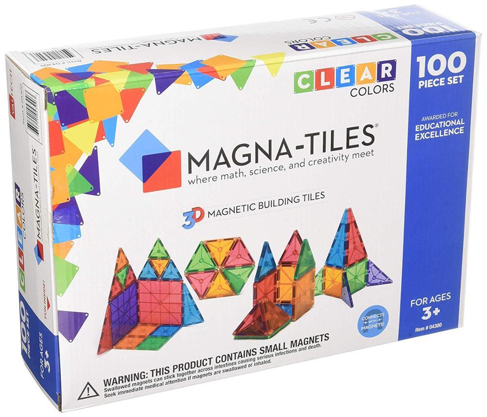 Magna-Tiles 3-D Magnetic Building Tiles Clear Colors100 Pcs Children's Building Blocks Transparent  Color Window Magnetic Film