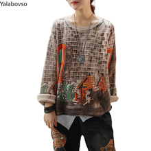 O neck Retro print Pullover women's blouse Computer Knitted Vintage Pullovers Vintage Knitwear Ladies Knitted Winter Clothes Z3 round neck camo print knitted pullover