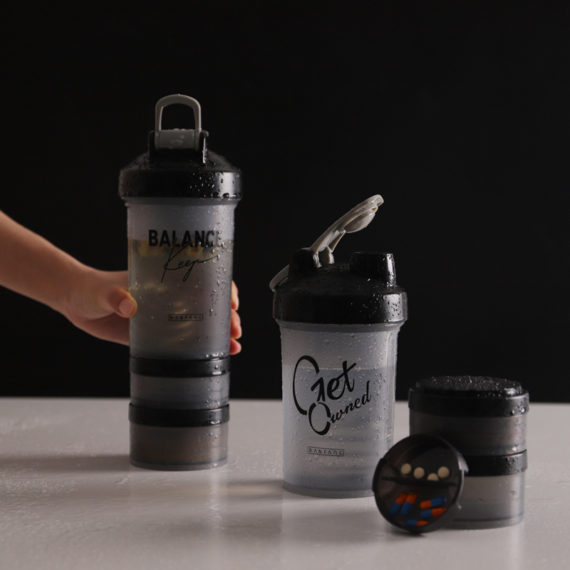 Sport Shake Bottle Built in Protein Powder Box Shake Blender Gym Smoothie Cup Flip Leak Proof Lid Handle With Stirring Ball in Water Bottles from Home Garden