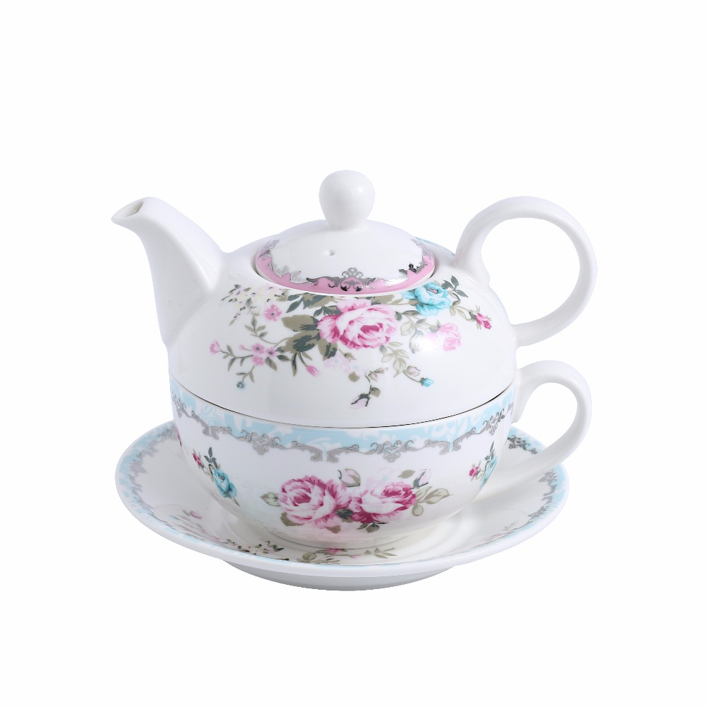 MALACASA Series Sweet.time 4 Piece Flower Tea for one Set Cream White Porcelain China Ceramic with Teapot  Cup and Saucer|Teapots| |  - title=