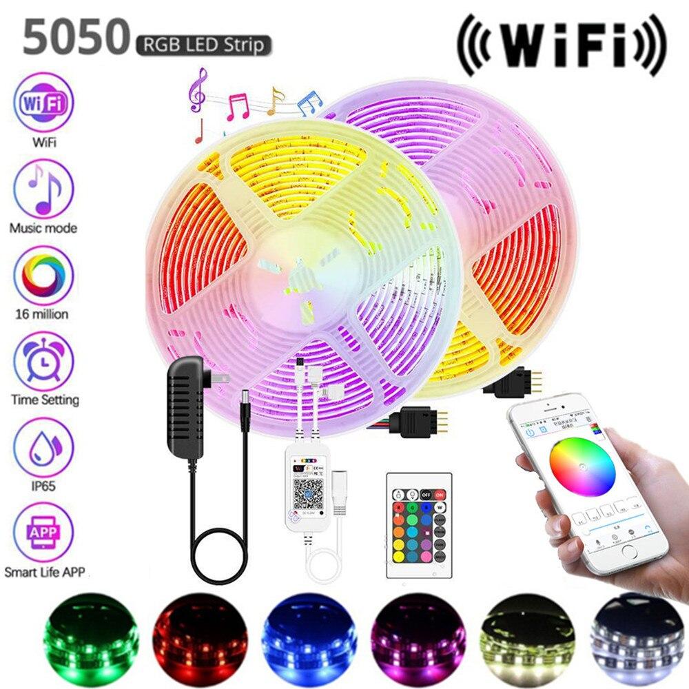 Wifi с 24 клавишами светодиодный водонепроницаемый RGB светильник 12 В luces светодиодный светильник s полоски 5050 SMD гибкая лента лампа 1 м 2 м 3 м 4 м 5 ...