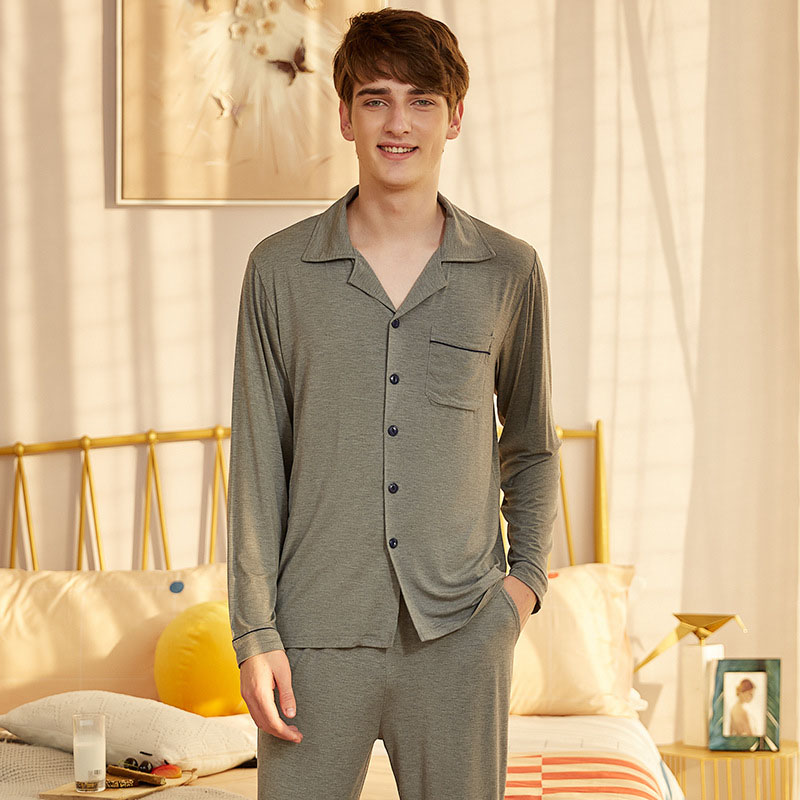 Mens Pajamas Cardigan Men Sleepwear Cotton Pajama Spring Thin Pijama Home Wear Mens Sleepwear Sleepwear Sleep&Lounge Pyjamas