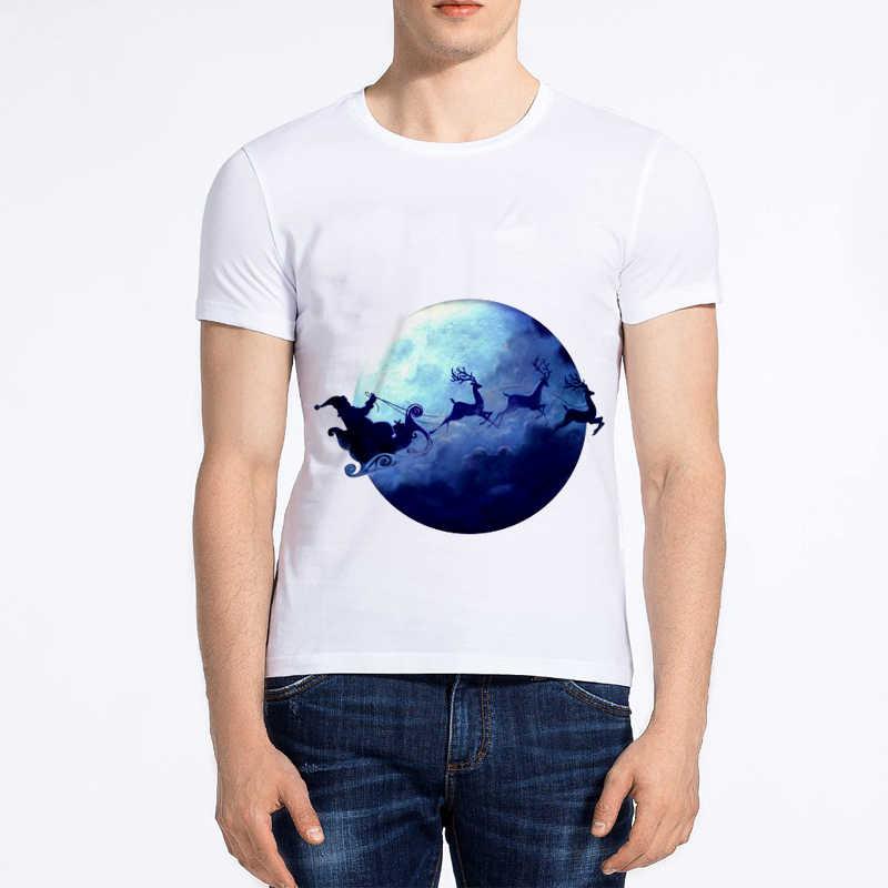 Showtly T-shirt di Moda del fumetto degli uomini di Natale Babbo Natale breve camicia a maniche lunghe Di Natale T-shirt di cotone collo rotondo allentato della camicia degli uomini tee