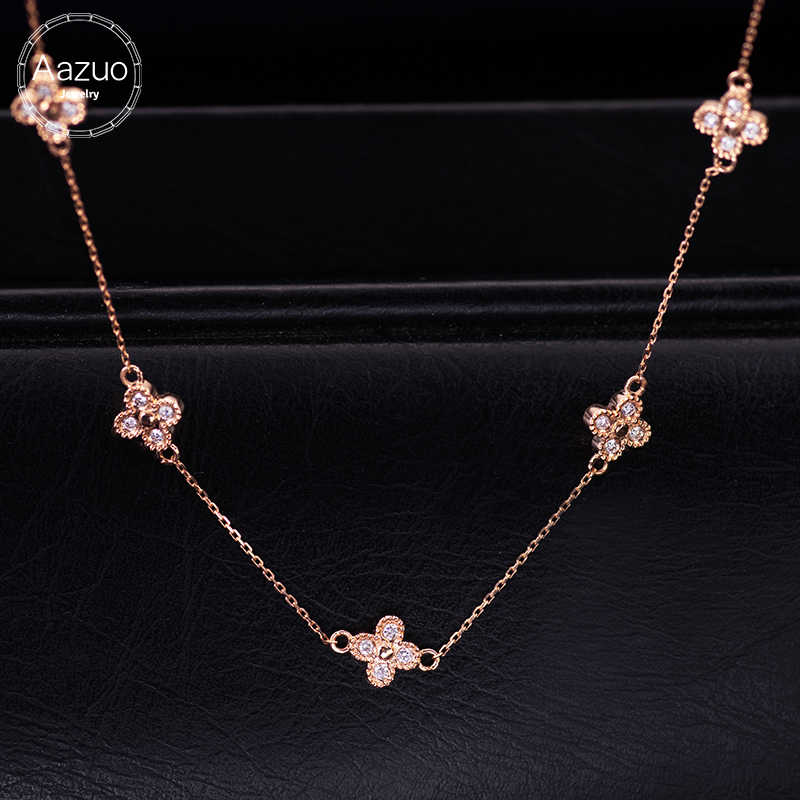 Aazuo Real Diamond 18K Rose Gold Fashion chocker Four Leaf Clover Flower Pendent With Chain Necklace gifted for Women  Au750