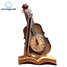 European Vintage Book Violin Clock Ornaments Resin Crafts Gift Home Decoration Accessories Desktops Minimalist