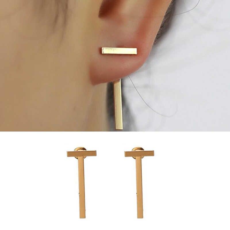 Jisensp na moda cz curvo brincos geométricos jaquetas de orelha para mulher elegante dupla face orelha studs meninas ano novo boucle d'oreille