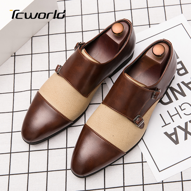 Large Size Monk Shoes Men's Business Dress Shoes British Style Schuhe Herren Banquet Formal Color Matching Buckle Leather Shoes