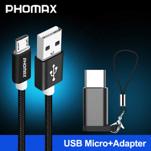 PHOMAX Micro USB Cable 5V2A Nylon Braided Data Sync Charger For Samsung S9 S8 huawei xiaomi mi8 7 Android Phone Cables