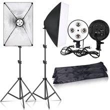SH fotografía Kit de iluminación Softbox de luz de estudio fotográfico caja de Kit de disparo continuo de la lámpara de la luz de caja con E27 Base Accesorios