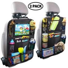 Качественный Органайзер на заднее сиденье автомобиля с сенсорным экраном и держателем для планшета+ 9 карманов для хранения, накладки на заднее сиденье автомобиля