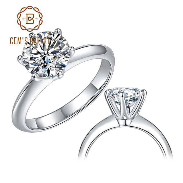GEM'S BALLET 925 Sterling Silver Moissanite Ring 1ct 2ct 3ct Round Moissanite Diamond Solitaire Engagement Rings For Women 1