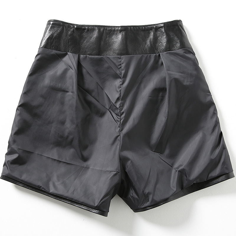 2020 New Fashion Womens Sexy Black Genuine Leather Sheepskin Shorts Lace Up Slim High Quality Female Straight Shorts Skirts 3XL
