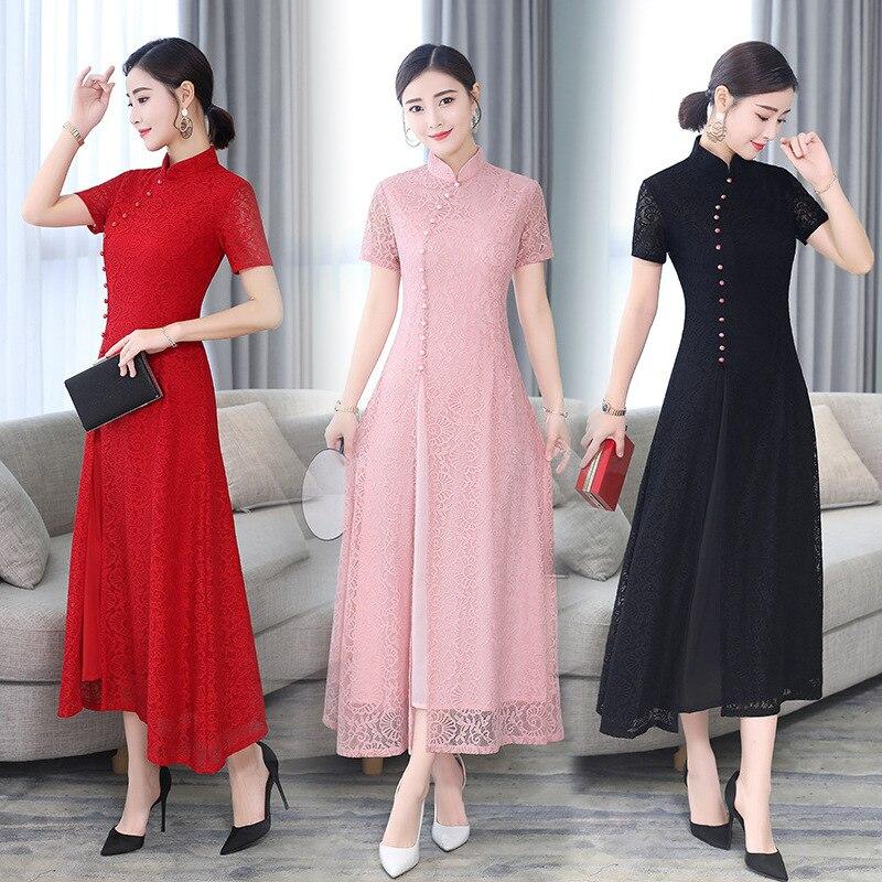 Spring Summer Modern Cheongsam Women Ao Dai Lace Qipao Chinese Dress Long QiPao Party Vintage Elegant Dress High Quality Qipao