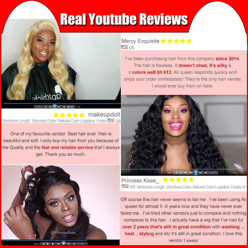 Ali Queen One-Donor Brazilian Unprocessed Virgin Human Hair Weaving Extension Deep Wave Bundle Natural Color 30Inch Double Drawn