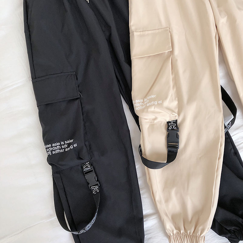 Hb5062fecd00141dfb83bb3a1c9ed1ff8U - Neploe Hip Hop Streetwear Women Cargo Pants High Waist Pockets Ribbon Trousers Female Loose All Match New Fashion 90230