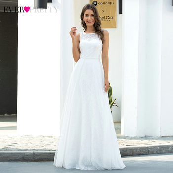 White Lace Wedding Dresses Ever Pretty A-Line O-Neck Sleeveless Elegant Formal Bride Gowns Tulle Dress Vestido De Noiva a line tulle wedding dress 2019 princess wedding gowns v neck sleeveless backless bride bridal dresses vestido de noiva