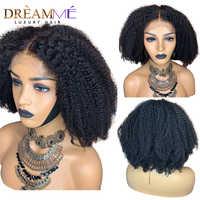 13X4 del pelo humano del frente del cordón pelucas con minimechones 150% de densidad mongol Afro rizado Pelo Rizado pelucas delanteras de encaje de pelo brasileño Remy del pelo Remy de la peluca