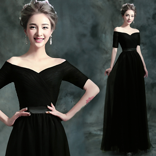 Short Sleeve A-line Tulle Black Evening Dress 2020 New Arrival Elegant Long Formal Prom Evening Gowns SK08