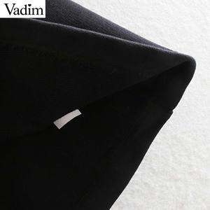 Image 5 - Vadim נשים שיק טלאי חולצות רפוי פאף שרוול O צוואר סוודרי להאריך ימים יותר אופנתי חולצות HA586