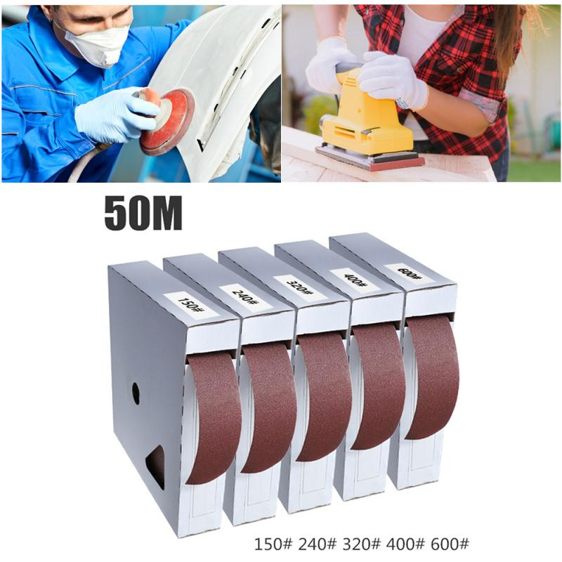 50M Sandpaper Polishing Accessories Dry Matte Belt Box Roll Soft Sand Cloth Grinding Tool Polishing 150# 240# 320# 400# 600# New