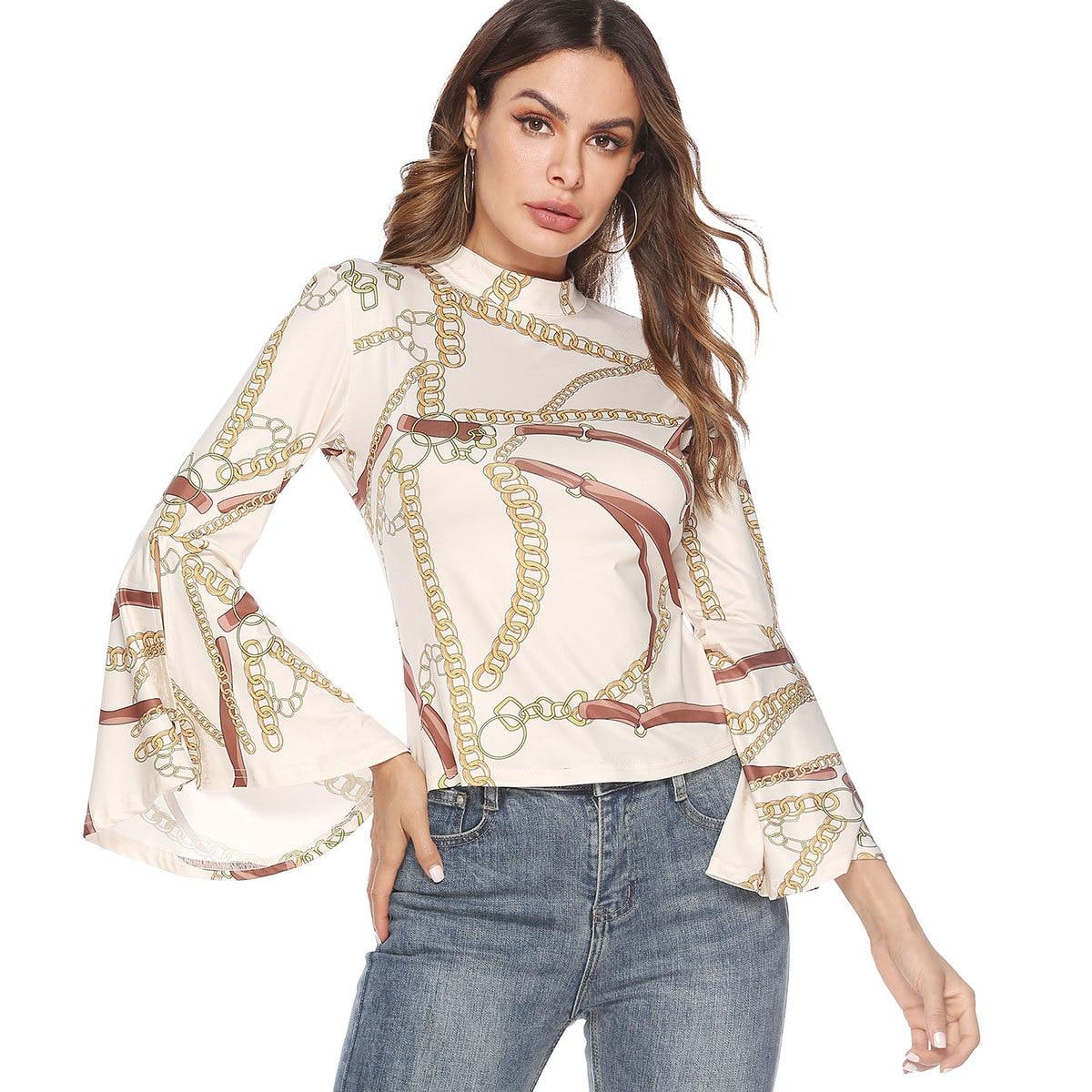 2019 automne Streetwear nouveau T-shirt col roulé chaîne imprimé Flare manches longues dos nu chemise Sexy pour les femmes