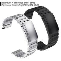 Cinturino in titanio + acciaio per Huawei Watch 3 Band GT 2 Pro GT2 cinturino per HONOR MagicWatch2 46mm GS Pro cinturino da polso