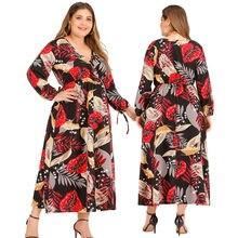 Wanyucl novo europeu e americano plus size feminino 2021mm de gordura vestido impresso saia longa