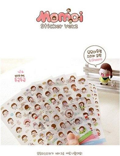 6sheets Wanna Momoi Diary Deco PVC Kawaii Scrapbooking Stickers Diary Planner Stickers/sticky Notes/papelaria Korean Stationary