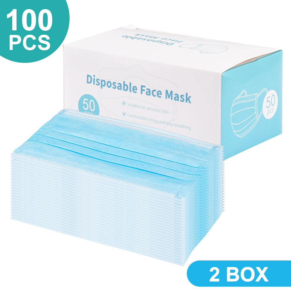 100PCS Disposable Masks Dust Mask Mouth Cover Face Mask 3-layer Non-Woven Masks Face Mouth Mask PM2.5 Mask Facial Mouth Mask