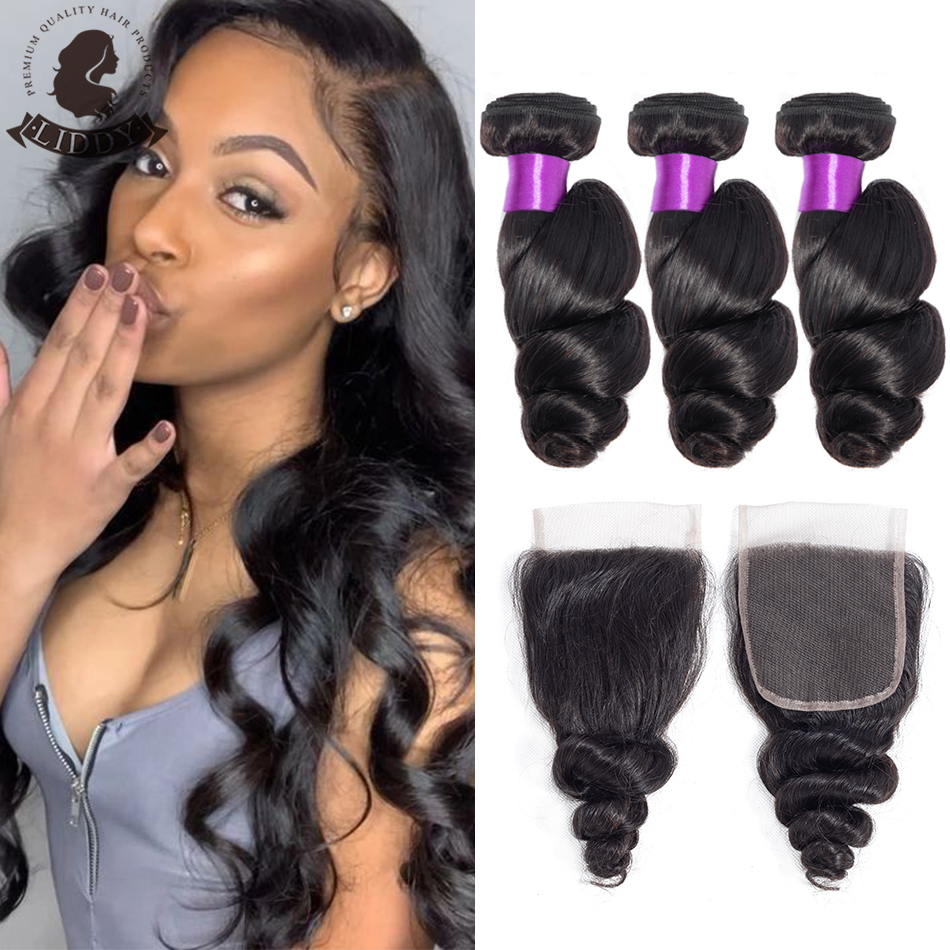 Liddy Bundles With Closure Brazilian Loose Wave Hair Bundles With Closure 100% Human Hair Natural Color Non-remy Hair Extensions