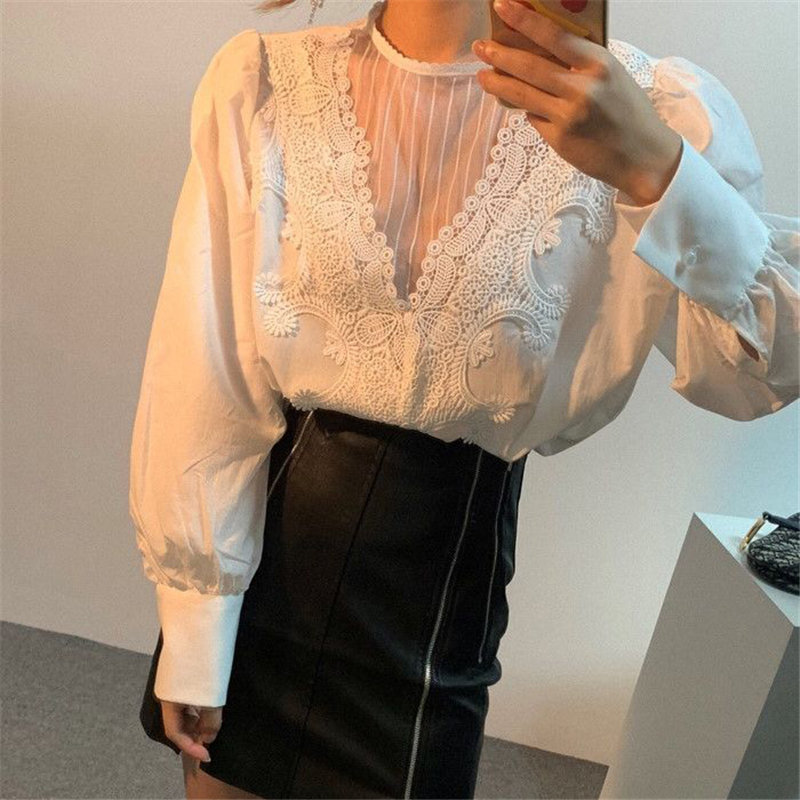 Alien Kitty 2020 Retro Hot Hollow Out Lace Sexy High Quality Autumn Vintage Brief Blouses All Match Office Lady Basic Shirts
