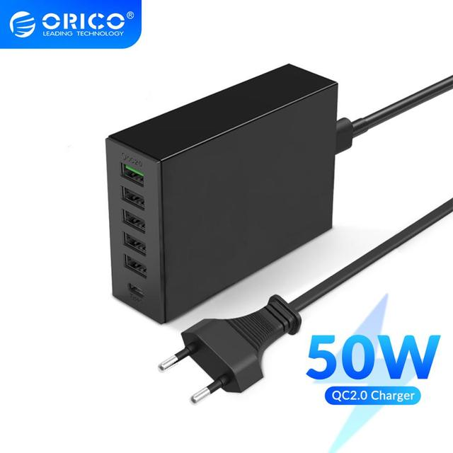 ORICO QC2.0 Desk Charger 6 Ports USB Phone Fast Charger with 3.1A Type c Charging Port for Mobile Phone Tablet