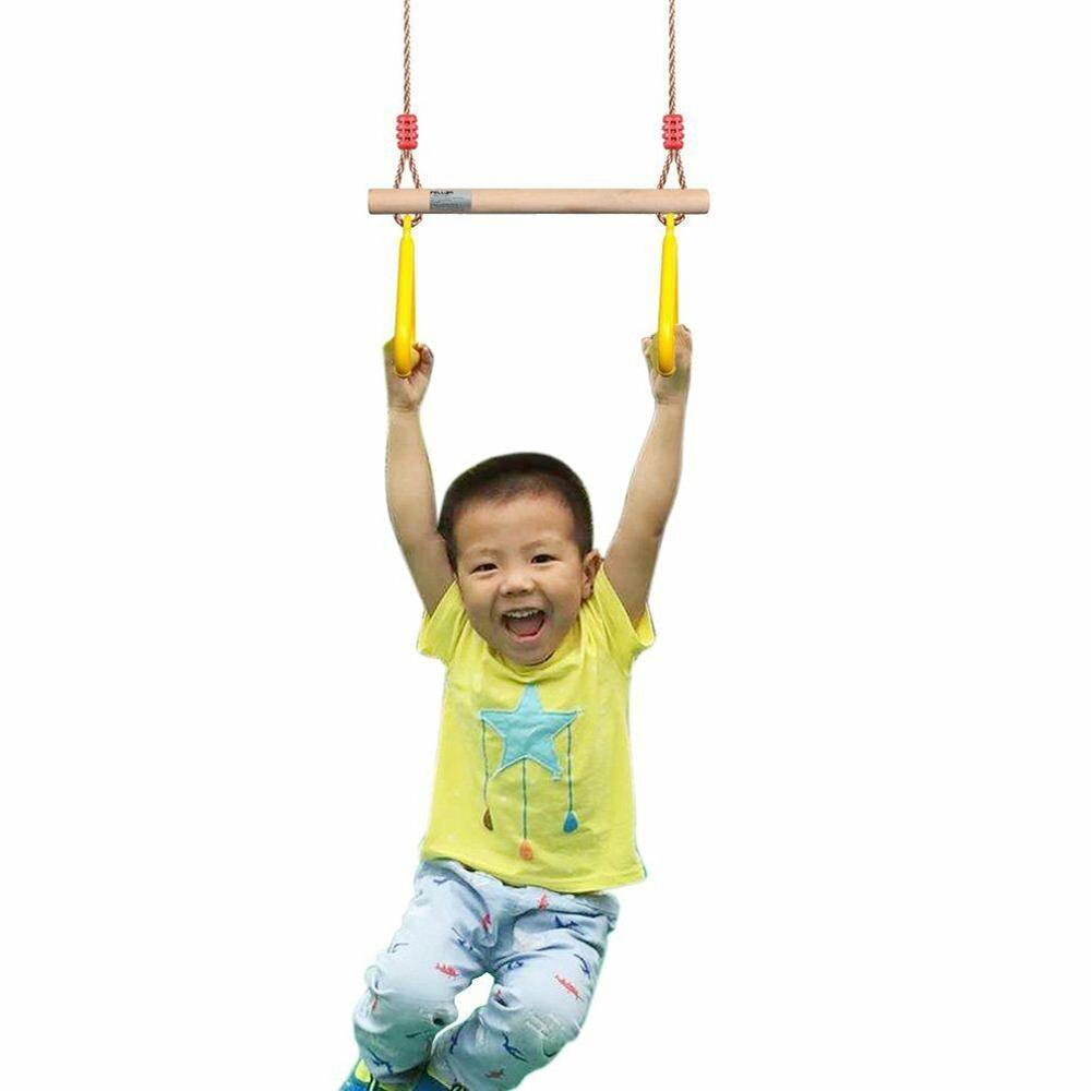 Kids Adult Outdoor Indoor Multifunction Wood Trapeze Swing With Plastic Rings Funny Game Toys For Chhildren Sport Birthday Gift
