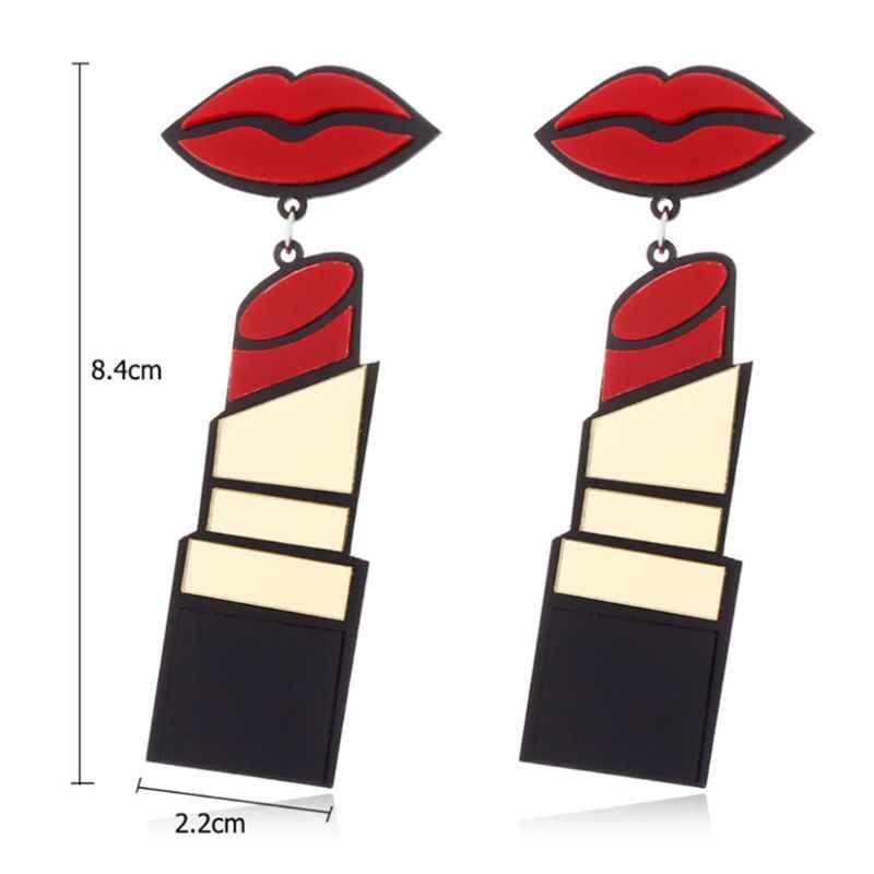 אקריליק עגילי נשים תכשיטי שפתיים שפתון פאנק סגנון להתנדנד אופנה ארוך זרוק