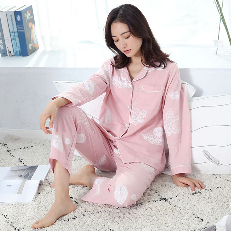 Womens Pajamas Sleepwear Winter Pajamas For Women Pure Cotton Sleepwear Long Sleeve Pijama Sleepwear Leisure Pajama Set Women