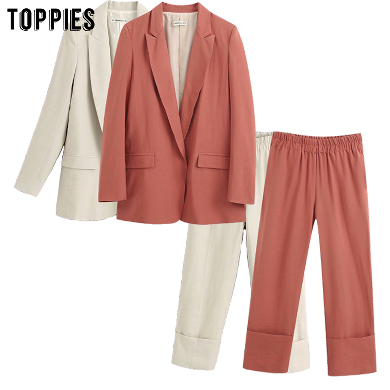 2020 Summer Suit Jacket Women Blazer Two Piece Set Ladies Cardigan Coat Elastic Waist Pants Formal Work Suits