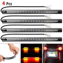 4Pcs 48 LED SMD Strip Motorcycle Car Tail Turn Signal Brake Stop Light Waterproof