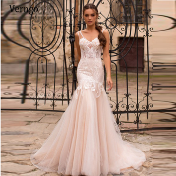 Verngo Light Champagne Mermaid Wedding Dress With Detachable Train 2 in 1 Gowns Lace Bridal Chic Vestidos De Novia